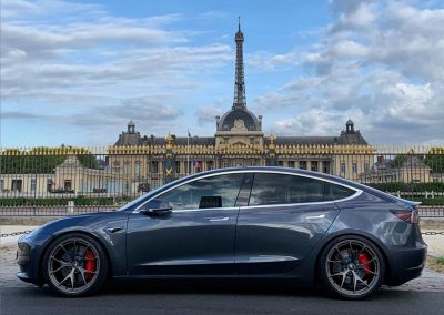 Upgraded Tesla Model 3 at the Eiffel Tower Paris