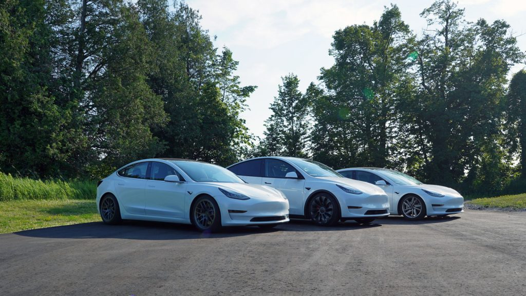two model 3's and a Model Y in attack formation