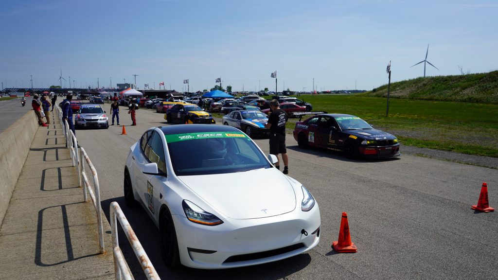 Mountain Pass Performance Tesla Model Y lined up at Pre Grid at CSCS Toronto Motorsports Park