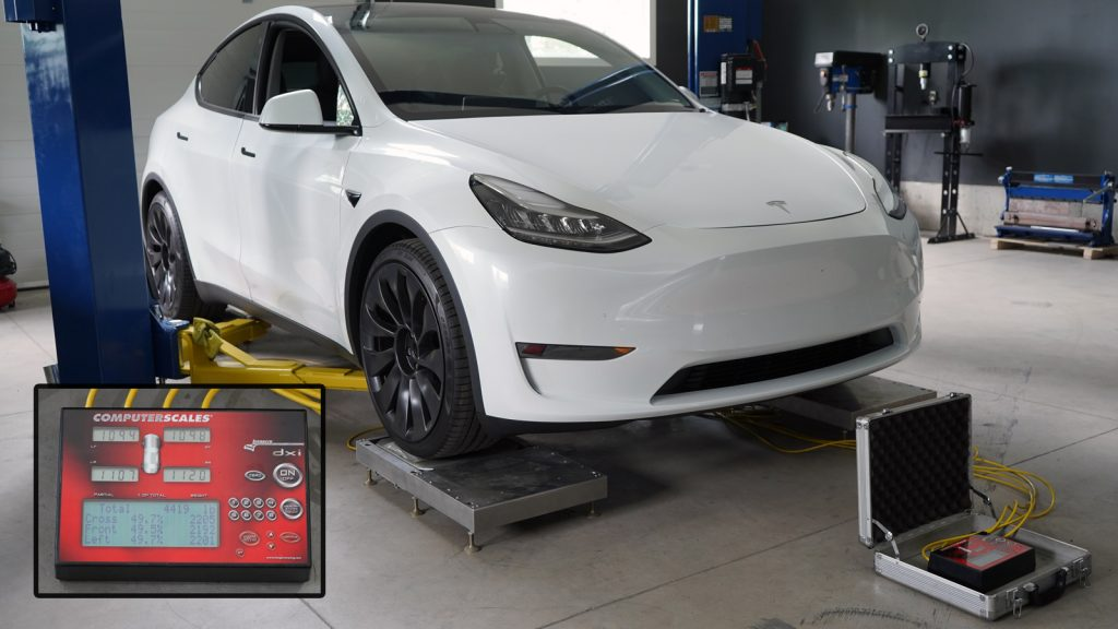 Tesla Model Y being weighed at Mountain Pass Performance
