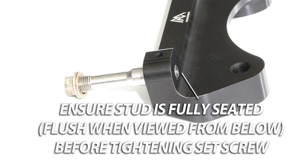 Stud seating instructions for StopTech MPP ST-60 caliper bracket
