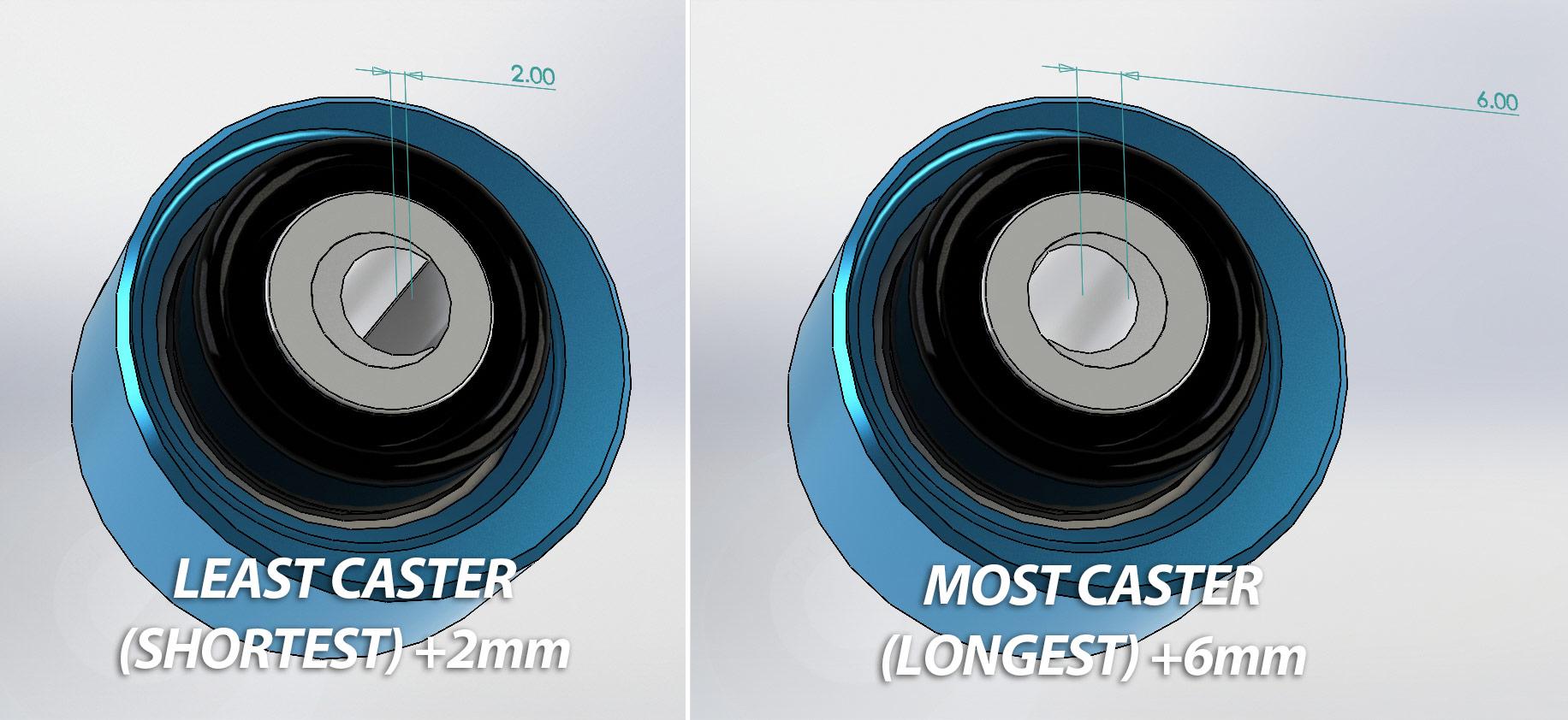 Tesla model 3 CAD diagram of caster adjustment
